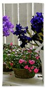 Irises And Impatiens Beach Towel