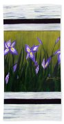 Irises And Old Boards - Weathered Wood Beach Towel