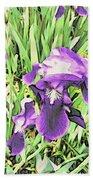 Irises In The Garden Beach Towel