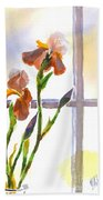 Irises In The Window Beach Towel