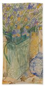 Irises With Chinese Pot Beach Towel