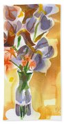 Irises With Stars Of Bethlehem Beach Towel by Kip DeVore