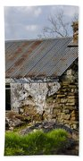 Irish Cottage Ruins Beach Towel