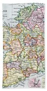 Irish Free State And Northern Ireland From Bacon S Excelsior Atlas Of The World Beach Towel