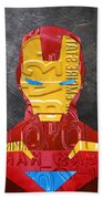 Iron Man Superhero Vintage Recycled License Plate Art Portrait Beach Towel