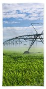 Irrigation Equipment On Farm Field Beach Towel