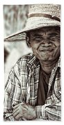 Isaan Rice Farmer Beach Towel
