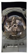 Iss Expedition 32 Spacewalk Beach Towel by Nasa Jsc