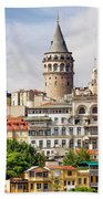 Istanbul Cityscape And Galata Tower Beach Towel