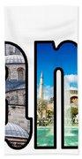 Istanbul Word Montage Beach Towel