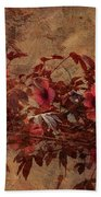 Italian Impasto Style Coral Floral Branch Beach Towel
