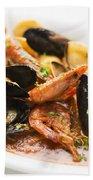 Italian Seafood Stew Beach Towel