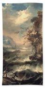 Italian Seascape With Rocks And Figures Beach Towel by Marco Ricci