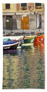 Italy Portofino Colorful Boats Of Portofino Beach Towel