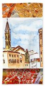 Italy Sketches Florence Towers Beach Towel