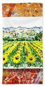Italy Sketches Sunflowers Of Tuscany Beach Towel