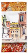 Italy Sketches Venice Piazza Beach Towel