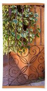 Ivy And Old Iron Gate Beach Towel