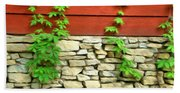 Ivy On Stone And Wood Beach Towel