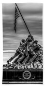 Iwo Jima Monument Black And White Beach Towel