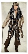 Jack Sparrow Inspired Pirates Of The Caribbean Typographic Poster Beach Towel