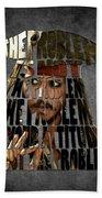 Jack Sparrow Quote Portrait Typography Artwork Beach Towel