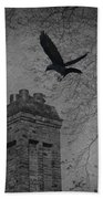Jackdaw Flying To Chimney Beach Towel