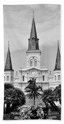 Jackson Square In Black And White Beach Towel