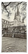 Jackson Square Winter Sepia Beach Towel