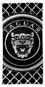 Jaguar Grille Emblem -0317bw Beach Towel