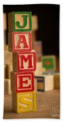 James - Alphabet Blocks Beach Towel