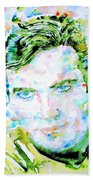 James T. Kirk - Watercolor Portrait Beach Towel by Fabrizio Cassetta