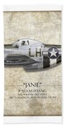 Janie P-51d Mustang - Map Background Beach Towel