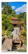 Japan In Pasadena - Beautiful View Of The Newly Renovated Japanese Garden In The Huntington Library. Beach Towel