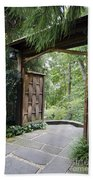 Japanese Garden Gate  Beach Towel