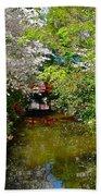 Japanese Garden In Bloom Beach Towel