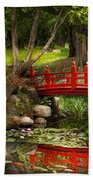 Japanese Garden - Meditation Beach Towel by Mike Savad