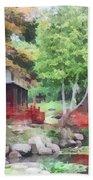 Japanese Garden With Red Bridge Beach Towel