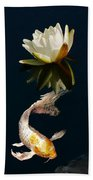 Japanese Koi Fish And Water Lily Flower Beach Towel