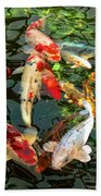 Japanese Koi Fish Pond Beach Towel