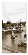 Japanese Tea Garden Glass Bottom Boats At Lovers Point Pacific Grove California Circa 1907 Beach Towel
