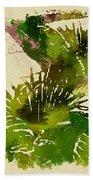 Japanese Washi Garden Reflections Beach Towel