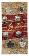 Jay Turser Guitar Head - Red Guitar - Digital Painting Beach Towel by Barbara Griffin