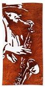 Jazz Saxofon Player Coffee Painting Beach Towel
