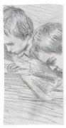Jean Pierre Hoschede And Michel Monet Beach Towel by Claude Monet