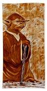 Jedi Master Yoda Digital From Original Coffee Painting Beach Towel