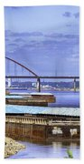 Jefferson Barracks Bridge A View From Cliff Cave Beach Towel