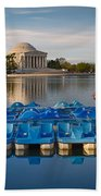 Jefferson Memorial And Paddle Boats Beach Towel