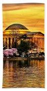 Jefferson Memorial Sunset Beach Towel