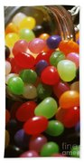 Jelly Beans Spilling Out Of Glass Jar Beach Towel